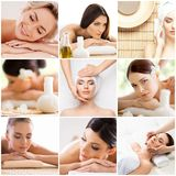 Traditional massage and healthcare treatment in spa. Young, beautiful and healthy girls having recreation therapy. stock photography