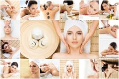 Traditional massage and healthcare treatment in spa. Young, beautiful and healthy girls having therapy. Collage Royalty Free Stock Image