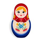 Traditional matrioska or russian doll isolated. Traditional russian doll ornament isolated on white background. Nesting matrioska girl, souvenir from Russia in Royalty Free Stock Photo