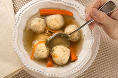 Traditional Matzah Ball Soup for Passover. Traditional Matzah Ball Soup for Jewish Passover Royalty Free Stock Images