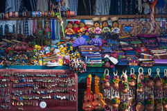 Traditional Mayan Clothing and accessories at market in Panajachel, Guatemala Stock Images