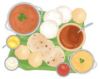 Traditional meal. An illustration of a traditional indian meal with curries and breads on a banana leaf and white background stock illustration