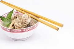 Traditional meat soup with chopstick Stock Photos
