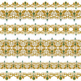 Traditional medieval seamless elements on isolated white Stock Images