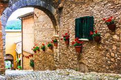Traditional medieval villages of Italy - picturesque streets of Casperia Royalty Free Stock Photos
