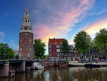 Traditional medieval watertower in Amsterdam Netherlands stock image