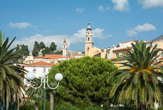 Traditional Mediteranean architecture in French Riviera town Men Royalty Free Stock Photography