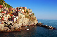 Traditional Mediterranean architecture of Manarola, Italy Stock Image