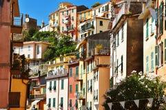 Traditional Mediterranean architecture of Riomaggiore, Italy Stock Photos