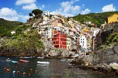Traditional Mediterranean architecture of Riomaggiore, Italy Stock Image