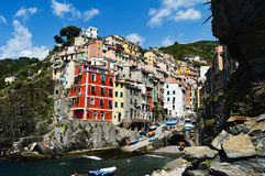 Traditional Mediterranean architecture of Riomaggiore, Italy Stock Images