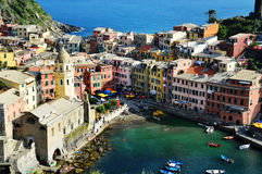 Traditional Mediterranean architecture of Vernazza, Italy Stock Photos