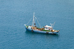 Traditional mediterranean fishing boat, aerial view Stock Photography