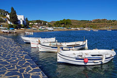 Traditional Mediterranean fishing boats. Traditional fishing boats in the Mediterranean village of Cadaques, Costa Brava, Spain Stock Photos