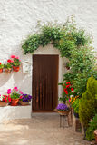 Traditional mediterranean house door decorated flower. S and flowerpot on white wall, european travel Royalty Free Stock Images