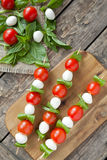 Traditional mediterranean mozzarella skewers with Royalty Free Stock Image