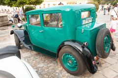 Traditional meeting of fans of vintage cars and motorbikes. An exhibition of old cars in the town square of Tisnov Stock Image