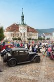 Traditional meeting of fans of vintage cars and motorbikes. An exhibition of old cars in the town square of Tisnov Stock Images