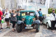 Traditional meeting of fans of vintage cars and motorbikes. An exhibition of old cars in the town square of Tisnov Royalty Free Stock Photography