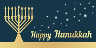 A traditional menorah for the festival of Jewish Chanukah. Horizontal banner. Gold silhouette on a dark background. Vector illustr Stock Image