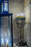 Traditional Menorah Hanukkah Lamp with olive oil candles, Jeru Royalty Free Stock Photos