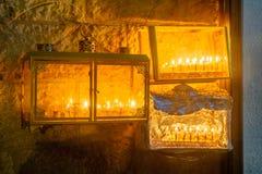 Traditional Menorah Hanukkah Lamp with olive oil candles, Jeru Stock Photo