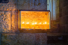 Traditional Menorah Hanukkah Lamp with olive oil candles, Jeru Stock Images