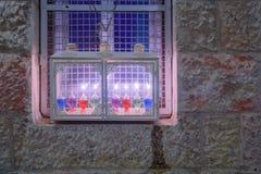 Traditional Menorah Hanukkah Lamp with olive oil candles, Jeru Stock Image