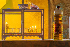 Traditional Menorah Hanukkah Lamp with olive oil candles Stock Images
