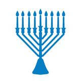 A traditional menorah for the Jewish Hanukkah festival. Blue silhouette icon isolated on white background. Vector illustration Stock Image