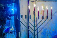Hanukkah 2017 in Safed Tzfat. Traditional Menorahs Hanukkah Lamps, in an alley in the Jewish quarter, in Safed Tzfat, Israel Royalty Free Stock Photos