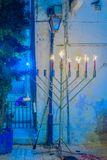 Hanukkah 2017 in Safed Tzfat. Traditional Menorahs Hanukkah Lamps, in an alley in the Jewish quarter, in Safed Tzfat, Israel Stock Image