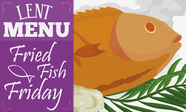 Traditional Menu for Lent Celebration: Fried Fish, Vector Illustration. Banner with traditional menu for Lent fasting celebration: fried fish with fasting bread royalty free illustration