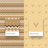 Minimal Pattern 30 33. Traditional Merry Christmas Seamless Patterns with Deer and Geometric Shapes Royalty Free Stock Image