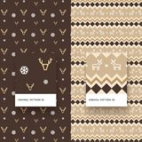 Minimal Pattern 35 36. Traditional Merry Christmas Seamless Patterns with Snowflakes, Deer and Geometric Shapes Royalty Free Stock Photography