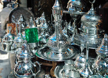 Traditional metal goods in shop in the medina of Tunis Stock Images