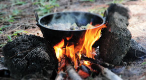 Traditional method of cooking. Mauritian traditional method of cooking Royalty Free Stock Images