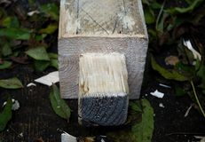 Traditional method of wood joining - the tenon. Detail view Stock Photography