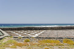 Traditional methods of sea salt production in Salinas del Carmen Royalty Free Stock Images