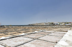 Traditional methods of sea salt production in Salinas del Carmen Royalty Free Stock Photography