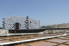 Traditional methods of sea salt production in Salinas del Carmen Stock Photos