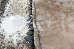 Traditional methods of sea salt production in Salinas del Carmen Royalty Free Stock Image