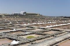Traditional methods of sea salt production in Salinas del Carmen Stock Image