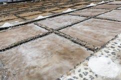 Traditional methods of sea salt production in Salinas del Carmen Royalty Free Stock Photo