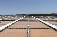 Traditional methods of sea salt production in Salinas del Carmen Royalty Free Stock Photos