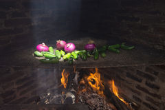 Traditional Mexican barbecue of peppers and onions Royalty Free Stock Photos