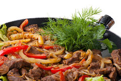 Traditional mexican beef fajitas. On white background Royalty Free Stock Image