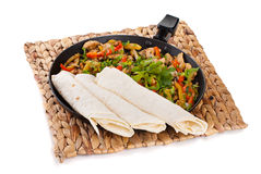 Traditional mexican beef fajitas with tortillas Stock Photo