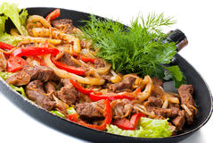 Traditional mexican beef fajitas. On white background Royalty Free Stock Photos