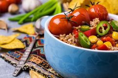 Traditional Mexican chili concarne. Traditional Mexican chili con carne on the table with vegetables and nachos. Selective focus Stock Image